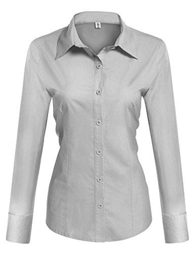 BeautyUU Damen Hemd Langarm Bluse Einfarbig Damenbluse Freizeithemd Business Hemd Baumwolle Hellgrau L