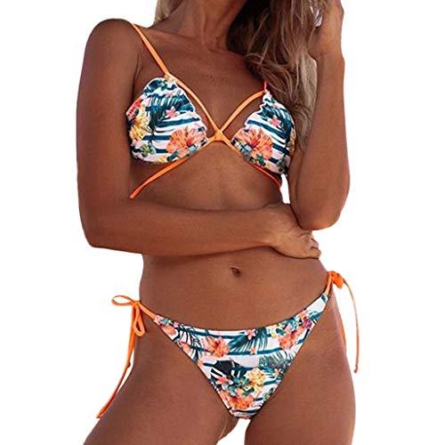 Bañadores Bikinis Floral Sexy Strappy Flaco Tejido Bra Bathingsuit Bañador 2 Pieza Set Ropa Playa Swimsuit Deportivos Bañador Beladla