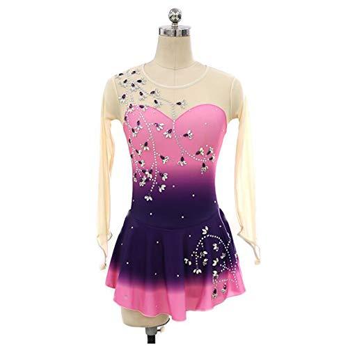 XIAOY Eiskunstlauf Kleid für Mädchen Frauen Handarbeit Eislauf Wettbewerb KostüM LangäRmelige Eislaufen Farbverlauf,PinkPurple,L