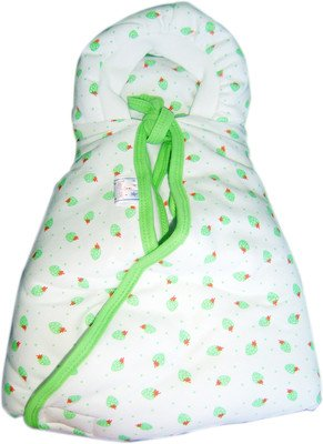 Tiny Care Hooded Cherry Printed Baby Wrapper - Apple Green