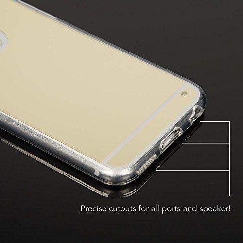 iPhone 6 6S Spiegel Hülle Handyhülle von NICA, Ultra-Slim Mirror Case Cover TPU Silikon-Hülle, Dünne Schutzhülle Backcover verspiegelt, Handy-Tasche Bumper Etui für Apple i-Phone 6S 6, Farbe:Silber Gold