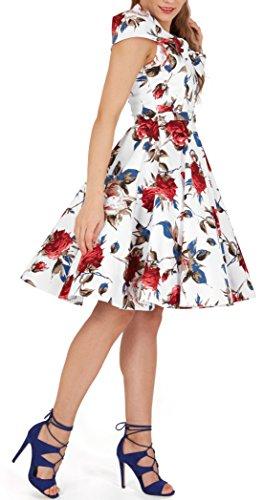 BlackButterfly 'Cynthia' Vintage Mercy Kleid im 50er-Jahre-Stil Weiß Rot