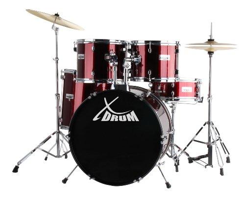 XDrum Semi (Schlagzeug Komplettset und Drumschool inkl. DVD) rot -
