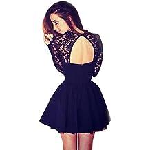 Vestidos de fiesta, K-youth® Moda Vestido Corto de Mujer sin Espalda Cóctel Vestido de Fiesta Mangas Largas Encaje Vestido de Noche