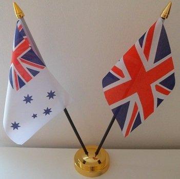 Australien Navy Ensign, Flagge Union Jack, 2 Freundschaft Tisch Display mit goldfarbenem Sockel -