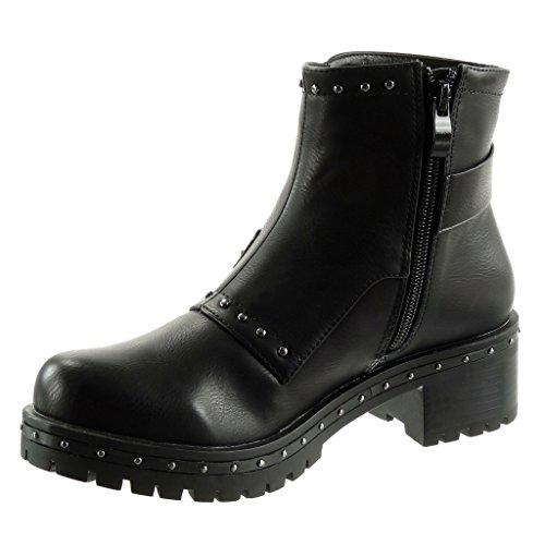 Angkorly - damen Schuhe Stiefeletten - Biker - Reitstiefel - Kavalier - Nieten - besetzt - String Tanga - Schleife Blockabsatz high heel 5 CM Schwarz