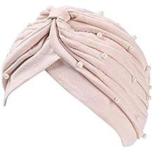 Mujeres Beanie Con Perla Decoración Plisado Turbante Elegante Capucha  Elástico Bandana Unicolor Años 20 Estilo Simple e15ec68d8db