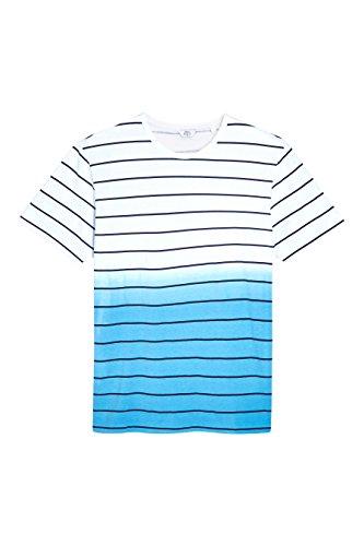 next Herren Gestreiftes T-Shirt in Tauchfaerboptik Regular Blau/Weiß