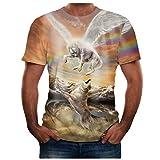 MOTOCO Herren Kurzarm T-Shirt Top Sommer/Hawaii O Kragen 3D Print Plus Size XS-2XL Slim Kurzarm Shirt(XS,Gelb-2)