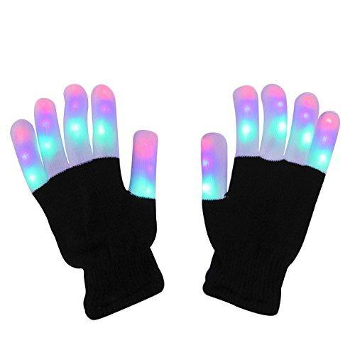LED Handschuhe, DAXIN Party Handschuhe Leuchtende Handschuhe Licht handschuhe mit bunten Fingerleuchten und 6 Blinkmodus für Sport, Party, Tanz, Geburtstag, Disco, Rave Clubs ()