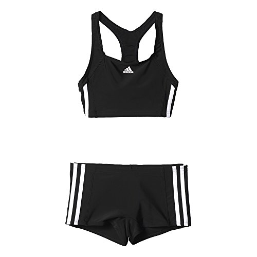 adidas Mädchen Infinitex Essence Core 3-Stripes Bikini, Black/White, 140