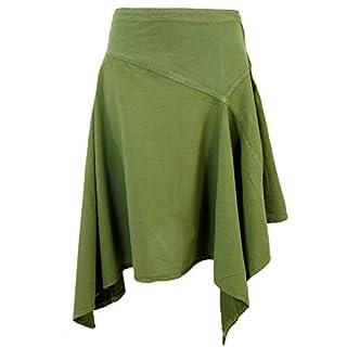 Guru-Shop Zipfelrock, Damen, Olive, Baumwolle, Size:L (40), Kurze Röcke Alternative Bekleidung