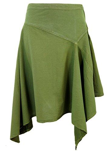 Guru-Shop Zipfelrock, Damen, Olive, Baumwolle, Size:M (38), Kurze Röcke Alternative Bekleidung
