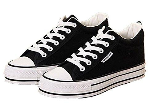 Wealsex Klassische Segeltuchschuhe damen Schuhe low top Sneaker schwarz Schnürsenkel