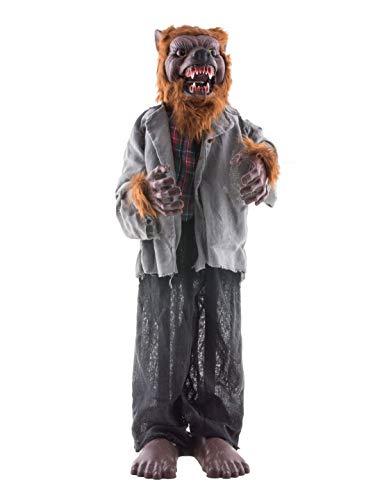 Deko stehender Werwolf Wolfsmensch mit Licht Geräusch und Bewegung, 90cm, Standing Wolfman Werewolf with Light Sound and Movement, ideal für jede Halloween Party / Feier, Grau ()