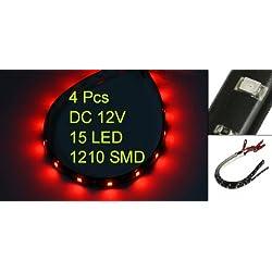 4 X Bande Eclairage Flexible Lampe 12V 15 LEDs Etanche Rouge 30x1cm