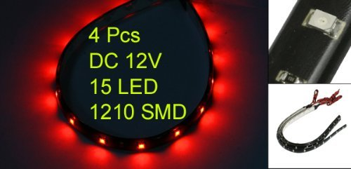 4 STRISCE ADESIVE 15 LED FLESSIBILE IMPERMEABILE 30CM ROSSO