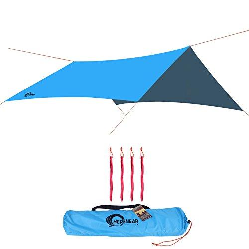 Herenear-Impermeable-Parasol-Lona-Toldo-Carpa-Grande-para-Tienda-Porttil-Ligero-con-Cuerda-Reflectante-Estacas-Fuertes-Vientos-3m-x-3m-para-al-aire-libre-Camping-Hamaca-Abrigo-Viajar-Picnic-Playa
