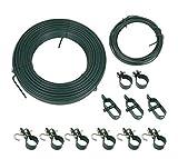 Arvotec - Kit di Montaggio per recinzioni in Filo Metallico, con Fascette, tenditore Filo, Cavo di Tensione e Legatura, Colore: Verde