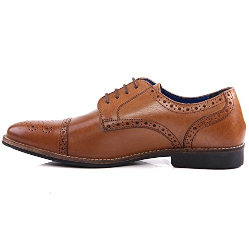 Unze Hommes 'Claydon' Cuir Brogue Formal Lace Up Chaussures Taille UK 7-11 Bronzage