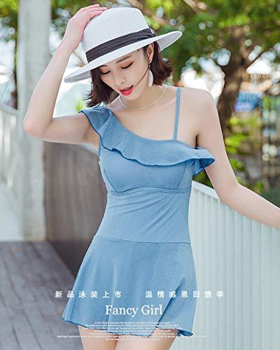 Maillot De Bain Conservateur Petit Ventre Recouvert De Bikini Était Maigre Petits Seins Gros Seins Maillot De Bain Femme Bleu Ciel XXL