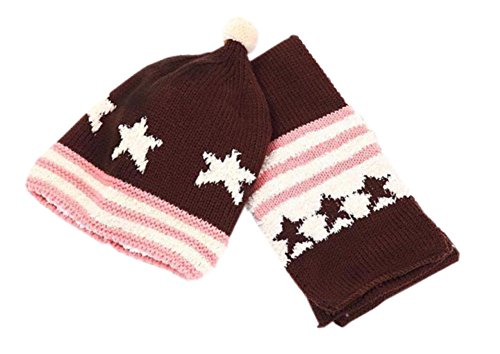 Sterne-Weich-Winter-warme gestrickte Wolle-Kappe/Hut+Schal für 8-36 Monate Brown (Cap Brown Fitted)
