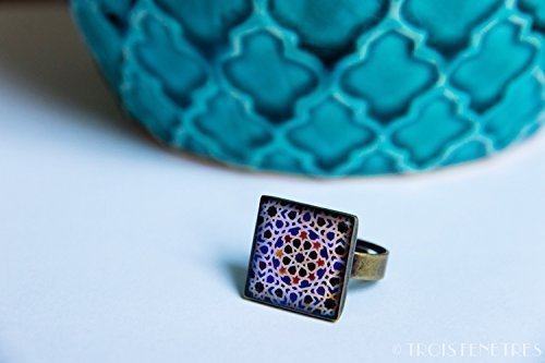 Ring with mosaics of the Alhambra - Blue Mosaic - Jewelry in ecological resin - Gift idea - Something blue - Christmas gift