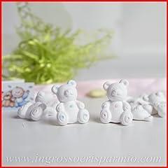 Idea Regalo - Ingrosso e Risparmio Gessetti binachi a forma di orsetto con dettagli celesti da maschietto,possono essere profumati - Bomboniera nascita,battesimo,comunione (kit 48 pz)