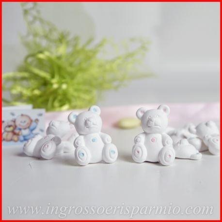 Ingrosso e risparmio gessetti binachi a forma di orsetto con dettagli celesti da maschietto,possono essere profumati - bomboniera nascita,battesimo,comunione (kit 48 pz)