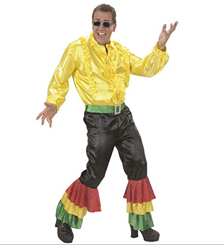 WIDMANN Herren Kostüm Satin Hose schwarz mit 3 Farben Pailletten Gürtel groß für 70er Jahre Travolta Night Fever Mottoparty