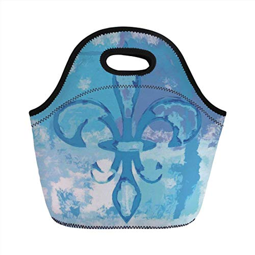 Portable Bento Lunch Bag,Fleur De Lis Decor,Illustration of Lily Flower Like Frozen Heredic Nobility Emblem Queenly Style Print,Blue,for Kids Adult Thermal Insulated Tote Bags Fleur Thermal
