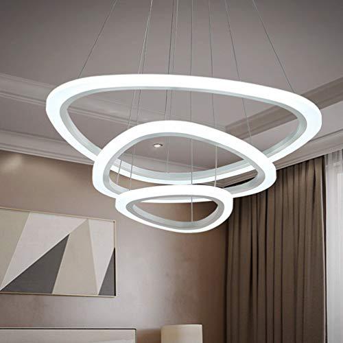 LED Esszimmerlampe Hängelampe Dimmbar Esstischlampe Wohnzimmerlampe Kronleuchter Höhenverstellbar mit Fernbedienung, Modern Pendelleuchte 3-Ringe Design Acryl-schirm Metall Flur Zimmer Decke Lampe