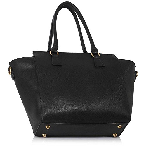 Meine Damen Umhängetaschen Frauen Große Designer Handtaschentoteschulterkunstleder Modische Taschen (A - Schwarz) Schwarz1