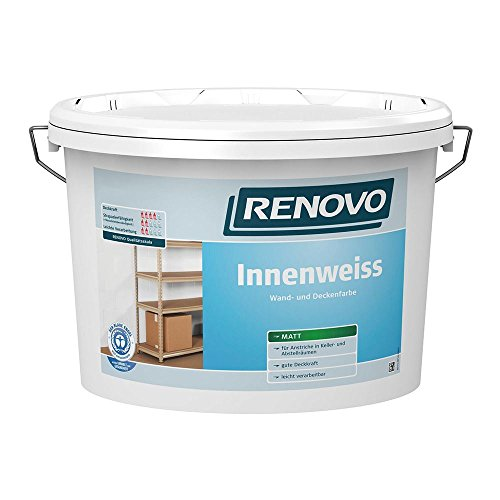Innenweiß Innenfarbe weiß matt 5 L Wand- Deckenfarbe Renovo