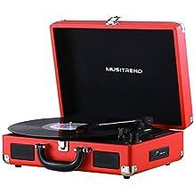 MUSITREND Vinyl Transport Giradischi Vintage, Forma di Valigetta, con 3 Livelli di Velocità, Rosso