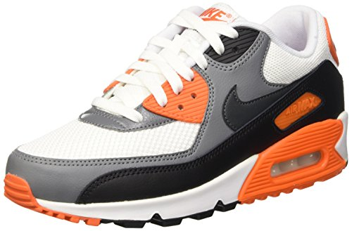 Nike Air Max 90 Essential Scarpe da ginnastica, Uomo Blanco / Negro / Gris (White / Anthracite-Cool Grey-Blk)