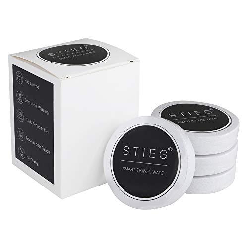 STIEG Komprimierte Bambus Reise Handtücher als Tabletten - 30 x 30 cm / 4er Set Weiß - 100% biologisch abbaubar - Einweg oder Mehrweg - Extra dick und saugfähig - gepresste Reinigungstücher Pillen -