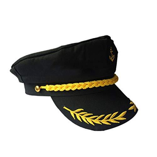 Amosfun Kapitän Hut Yacht Party Matrose Mütze Marine Marine Erwachsene Admiral Matrose Kostüm Zubehör (Schwarz)