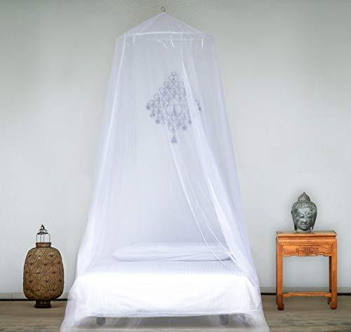 EVEN NATURALS Luxus MOSKITONETZ Bett, großes Mückennetz für Einzelbett, feinste Löcher, rundes Netz Vorhang, Insektenschutz Reise, 1 Eintrag, einfache Anbringung, Tragetasche, Keine Chemikalien