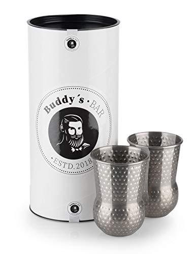 Buddy´s Bar - 2 Julep Mug Becher, 2 x 400 ml Cocktail-Becher mit Hammerschlag-Effekt, hochwertige Edelstahl-Becher, lebensmittelecht, gehämmert, inkl. Geschenkbox, 2er Set, Edelstahl antik - Gehämmert Bar Set