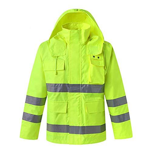 WBBFGF Reflektierende Regenmantel Set, Verkehr BAU Hygiene Regenmantel Anzug Männlichen Erwachsenen Outdoor Reiten Wasserdichte Kleidung Jacke (Farbe : Top+Pants, größe : XXL)