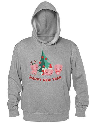 Finest Prints Happy New Year 2019 Three Cute Piglets New Pig Year Design Kapuzenpulli für Herren Small