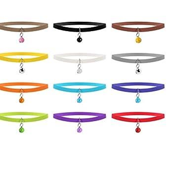 UEETEK Colliers Identification Réglables pour Chiot Chaton Colliers ID avec Bell 20cm 12 Couleurs 12 Pièces