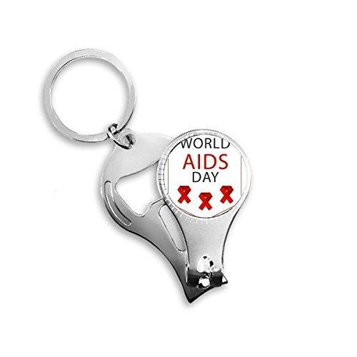 Mon5f Home Welt-AIDS-Tag Red Ribbon 1. Dezember HIV Bewusstsein Solidarität Symbol Metall Schlüsselanhänger Ring Multifunktions Nagelknipser Flaschenöffner Auto Keychain Bester Charme -