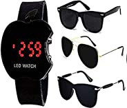 Y&S Men's Sunglasses Combo with LED Watch