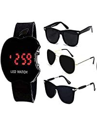 Y&S Goggle Sunglasses Combo With LED Watch for Boys (GLDN-BLK-AVTR+BLK-WAYF+BLK-STK+LED)