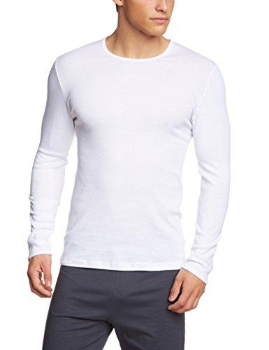 Calida Herren T-Shirt langarm Cotton 1:1 Unterhemd, Weiß (Weiss 001), Large (Herstellergröße: L = 52/54) -