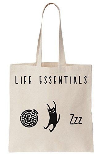 Life Essentials - Pizza, Cats And Sleep Canvas Tote Bag