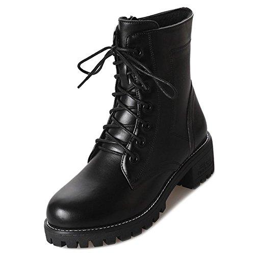 HSXZ Scarpe donna pu Autunno Inverno Comfort moda Stivali Stivali Chunky tallone punta tonda Mid-Calf scarponi per Nero Casual Black