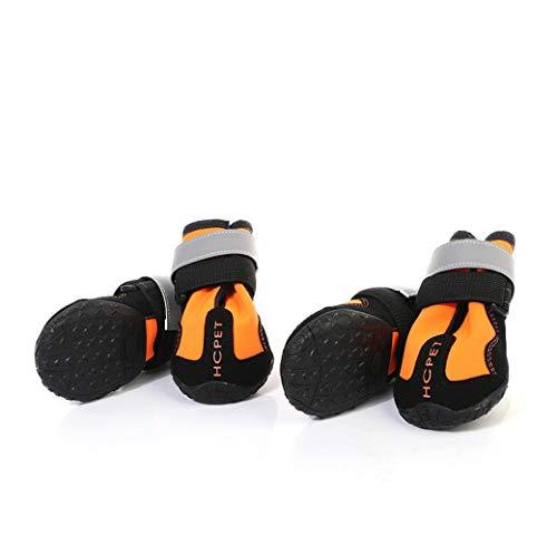 GJJ Pet atmungsaktive Hundeschuhe, rutschige Regenstiefel für Haustiere, Wasserdichte reflektierende Outdoor-Schuhe, geeignet für kleine mittelgroße Hunde Null/Orange / - Null Hunde Kostüm
